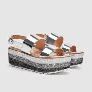 Zara Woman Metallic Glitter Platform Sandals 35